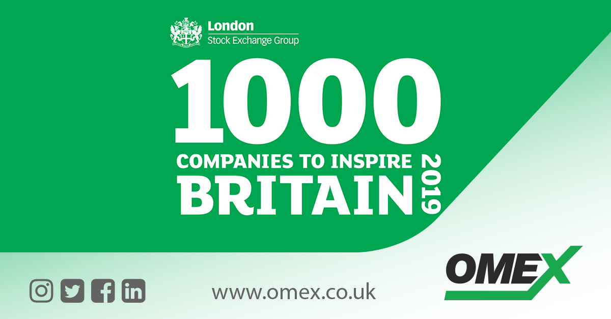OMEX Environmental Named In London Stock Exchange's '1000 Companies To Inspire Britain' 2019 Report